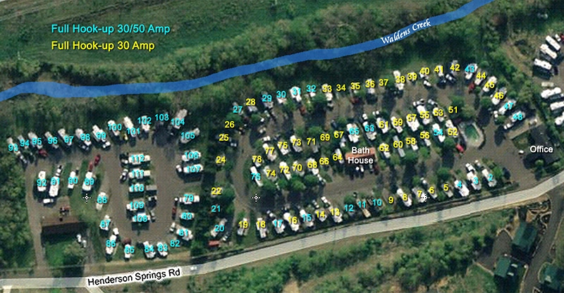 CreekSide RV Park Site Map of Campground RV Park Pigeon Forge